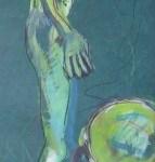 Osten - Zeichnung von Susanne Haun - Ölkreide und Acryl auf handgeschöpften Bütten - 2005 - 60 x 20 cm