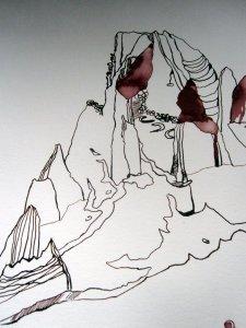 Ausschnitt Trauminsel III Zeichnung von Susanne Haun - Berg!