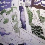 Vor dem Thor - Zeichnung von Susanne Haun - 40 x 30 cm - Tusche auf Bütten