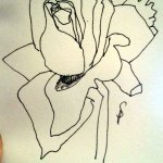 Skizze verblühte Rose von Susanne Haun