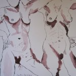 Dreimal fünfzig Weiber - Zeichnung von Susanne Haun - 2. Teil 30 x 40 cm - Tusche auf Bütten