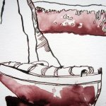 Ausschnitt Trauminsel III Zeichnung von Susanne Haun - 2.Boot