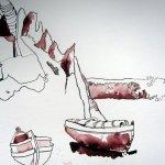 Ausschnitt Trauminsel III Zeichnung von Susanne Haun - von den Alpen zur Küste