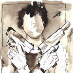 Der moderne Schütze - Zeichnung von Susanne Haun - 20 x 20 cm - Tusche auf Bütten