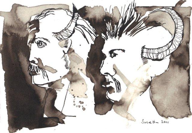 Dämone Vers 1 - Zeichnung von Susanne Haun - Sepia auf Hahnemühle Bütten - 17 x 22 cm