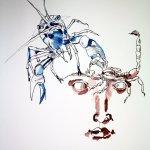Dazu eignen sich sehr gut die Beine des Krebs - Entstehung Zeichnung von Susanne Haun