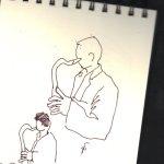 Saxophon - Skizze von Susanne Haun