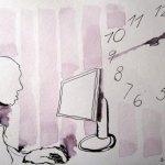 Immer in Bewegung mit wenig Schlaf - Zeichnung von Susanne Haun - Tusche auf Bütten - 17 x 22 cm