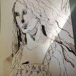 Ich arbeite am Gesicht und Ausschnitt des Engels - Zeichnung von Susanne Haun