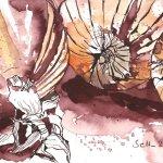 Drei Zwiebeln - Zeichnung von Susanne Haun - Tusche auf Burgund Hahnemühle - 17 x 22 cm