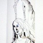 Entstehung Pepperoni-Flamingo Engel - Zeichnung von Susanne Haun - 200 x 40 cm