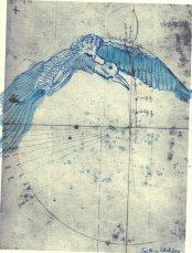 Storch - Übermalung/Zeichnung von Susanne Haun - Version 4 - 30 x 20 cm