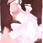 Der Rhytmus der heiligen Anna und des Jesuskind - Version 2 - Zeichnung von Susanne Haun - Tusche auf Lanaaquarell - 18 x 26 cm