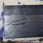"""1. Zinkplatte """"In der Ferne"""" blau gewischt von Susanne Haun"""