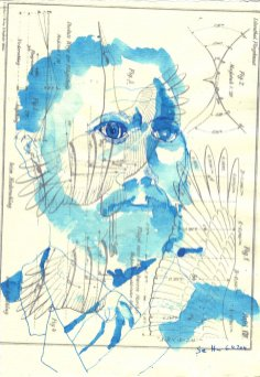 Otto Lilienthal - Blatt 1- Zeichnung von Susanne Haun - 20 x 30 cm - Tusche auf Bütten