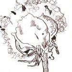 Baumwolle IV - Zeichnung von Susanne Haun - Tusche auf Hahnemühle Burgund - 12 x 17 cm