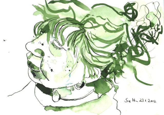 Durch meines Bruders Augen - Version 2 - Zeichnung von Susanne Haun - 35 x 35 cm - Tusche auf Bütten