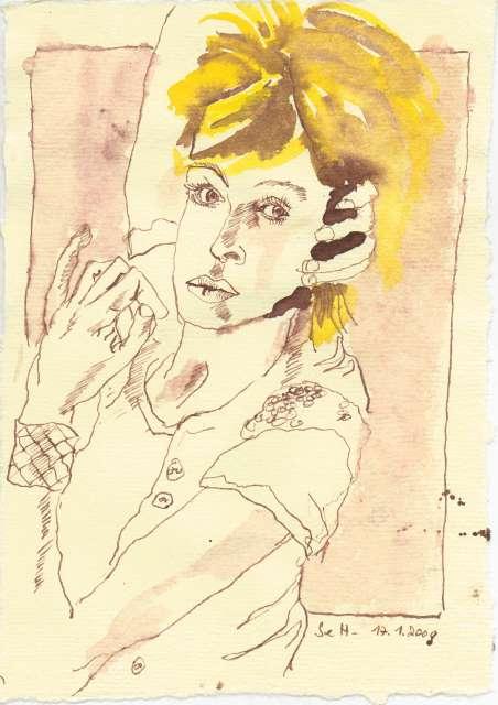 Tagebucheintragung 2009 01 17 - 2 - Zeichnung von Susanne Haun - Tusche auf Bütten