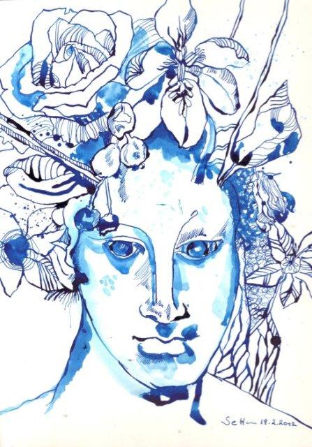 Jüngling, 23 x 31 cm, Tusche auf Bütten (c) Zeichnung von Susanne Haun