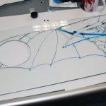Otto Lilienthal Projekt (c) Entstehung Gleiter auf Glas von Susanne Haun