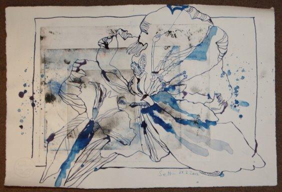 Tulpe 30 x 40 cm auf Kupferdruckkarton(c) Zeichnung von Susanne Haun