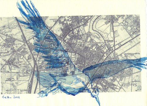 Storch - Der FLug über Steglitz (c) Zeichnung Susanne Haun