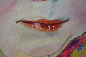 4 Merle Detail Mund (c) Pastell von Susanne Haun