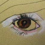 Merles Auge auf Hahnemühle Kraftpapier (c) Pastell von Susanne Haun