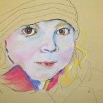 5 Ich umrahme das Gesicht mit der Jacke auf Hahnemühle Kraftpapier (c) Pastell von Susanne Haun