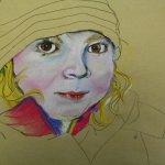 6 Merles Gesicht und Haaren werden angelegt auf Hahnemühle Kraftpapier (c) Pastell von Susanne Haun