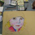 8 Merles Gesicht - ich habe mich für die Pastellfarben von Schmincke entschieden (c) Pastell von Susanne Haun
