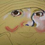 Merles Gesicht wird angelegt auf Hahnemühle Kraftpapier (c) Pastell von Susanne Haun
