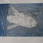 Probedruck Fisch Radierung von (c) Susanne Haun