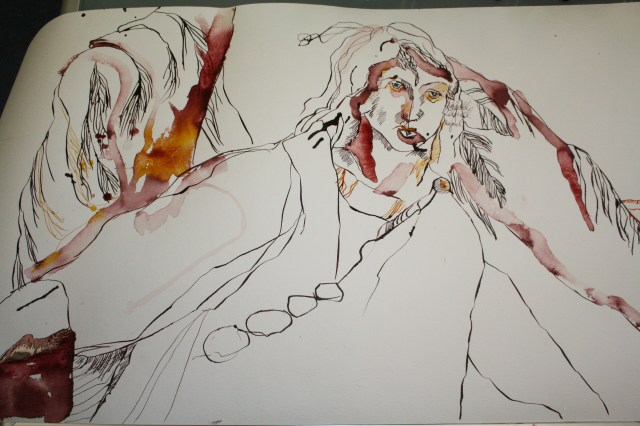 Raguel entsteht auf der Rolle (c) Zeichnung von Susanne Haun