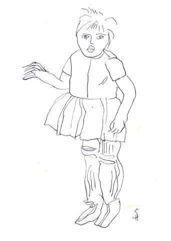 Selbst als 5jährige Version 3 (c) Zeichnung von Susanne Haun