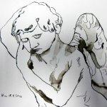 Ruhender Engel, 17 x 22 cm, Tusche auf Bütten (c) Zeichnung von Susanne Haun