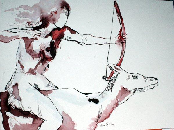 Schützin 30 x 40 cm Tusche auf Büttin (c) Zeichnung von Susanne Haun