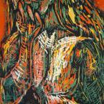 2003 Lippenstift 70 x 50 cm Holzschnitt (c) vonSusanne Haun