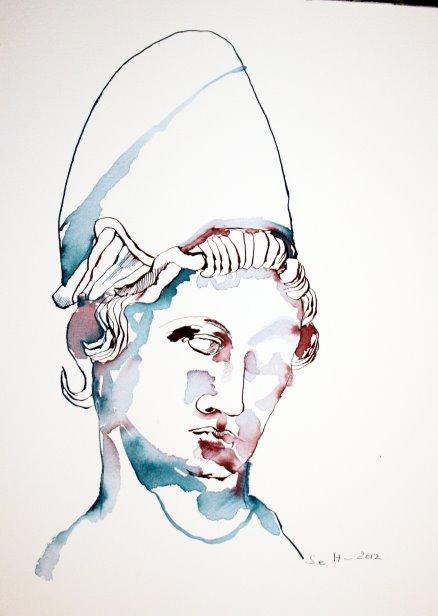 Athena 40 x 30 cm Tusche auf Bütten (c) Zeichnung von Susanne Haun