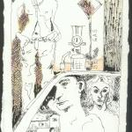 Die Frau an der Tankstelle, 20 x 15 cm, Rapidograph und Buntstift auf Bütten (c) Zeichnung von Susanne Haun