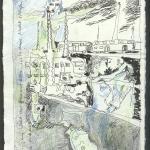 Eine Welt aus grün und blau - 20 x 15 cm - Rapidograph und Buntstift auf Bütten (c) Zeichnung von Susanne Haun