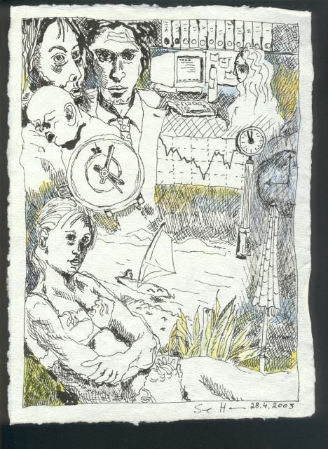 Umgang mit Zeit - 20 x 15 cm - Rapidograph und Buntstift auf Bütten (c) Zeichnung von Susanne Haun