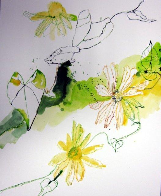 Stand der Dinge - Gelbe Blumen (c) Zeichnung von Susanne Haun