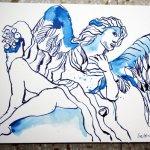 Engelsperspektiven 22 x 17 cm Tusche auf Bütten (c) Zeichnung von Susanne Haun