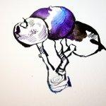 Entstehung blaue Vogelbeere (c) Zeichnung von Susanne Haun