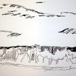 Wellen der Ostee 17 x 22 cm Tusche auf Bütten (c) Zeichnung von Susanne Haun