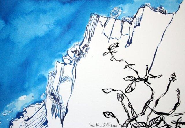 Kreisdefelsen 17 x 22 cm Tusche auf Bütten (c) Zeichnung von Susanne Haun