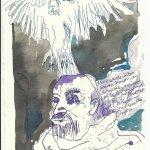 Blatt 16 Nachts wurde ich von Klauen zerissen, von Schnäbeln gebissen (c) Zeichnung von Susanne Haun