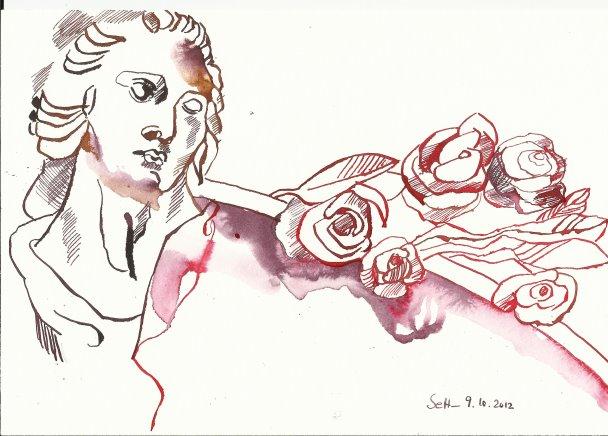 Fassadenfiguren Herzzentrum Version 1 Tusche auf Bütten 17 x 22 cm (c) Zeichnung von Susanne Haun