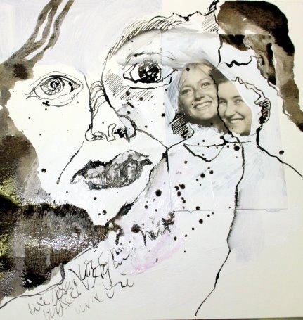 Ungeliebte Vergangenheit - Die Beobachterin - 25 x 25 cm (c) Collage von Susanne Haun